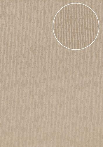 Empapelado tono sobre tono Atlas COL-544-5 papel pintado no tejido liso unicolor efecto satinado beige bronce 5,33 m2 – Imagen 1