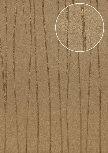 Streifen Tapete Atlas COL-567-1 Vliestapete glatt Design schimmernd braun khaki-grau gold 5,33 m2 – Bild 1