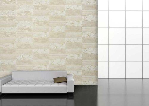 Stone tile wallpaper wall Atlas ICO-5072-1 non-woven wallcovering smooth with nature-inspired pattern shimmering white gray-beige gold 7.035 m2 (75 ft2) – Bild 3