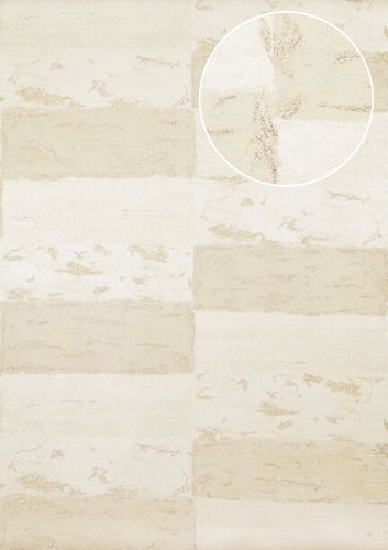 Stone tile wallpaper wall Atlas ICO-5072-1 non-woven wallcovering smooth with nature-inspired pattern shimmering white gray-beige gold 7.035 m2 (75 ft2) – Bild 1
