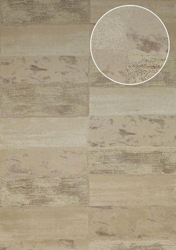 Stein-Kacheln Tapete Atlas ICO-5072-4 Vliestapete glatt mit Natur-Mustern schimmernd beige hell-elfenbein grau-beige 7,035 m2 – Bild 1