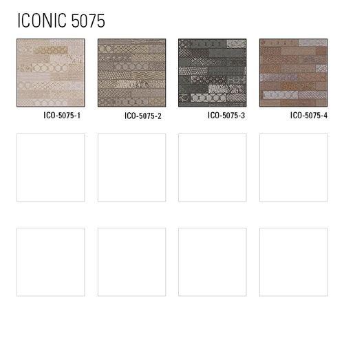 Carta da parati etnica Atlas ICO-5075-2 Carta da parati TNT liscia con motivo a mosaico scintillante grigio argento marrone 7,035 m2 – Bild 5