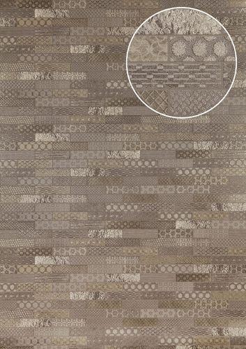 Empapelado estilo étnico Atlas ICO-5075-2 papel pintado no tejido liso con dibujo tipo azulejos efecto satinado gris plata marrón 7,035 m2