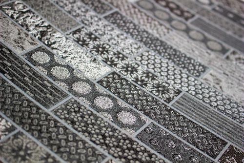 Ethno Tapete Atlas ICO-5075-3 Vliestapete glatt mit Kachelmuster schimmernd anthrazit basalt-grau silber 7,035 m2 – Bild 2