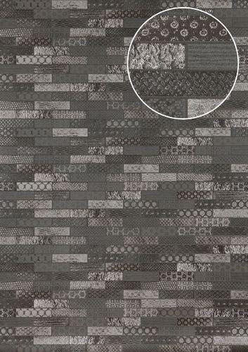 Empapelado estilo étnico Atlas ICO-5075-3 papel pintado no tejido liso con dibujo tipo azulejos efecto satinado antracita gris-basalto plata 7,035 m2
