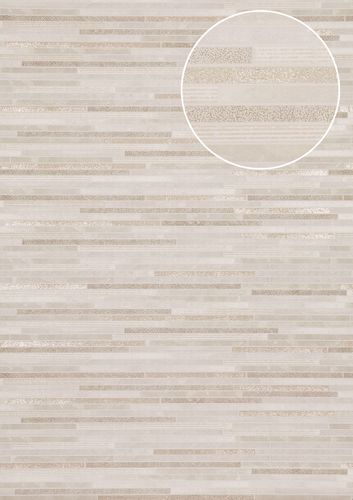 Stone tile wallpaper wall Atlas ICO-5076-2 non-woven wallcovering smooth stone look shimmering white gray-white gold 7.035 m2 (75 ft2) – Bild 1
