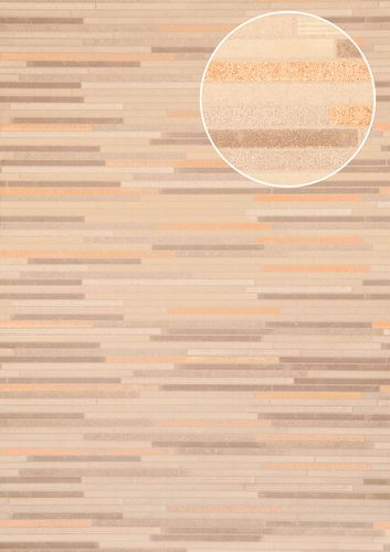 Stone tile wallpaper wall Atlas ICO-5076-4 non-woven wallcovering smooth stone look shimmering gray pale-brown white bronze 7.035 m2 (75 ft2) – Bild 1
