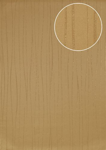 Stripes wallpaper wall Atlas ICO-5077-4 non-woven wallcovering smooth design shimmering gold ivory 7.035 m2 (75 ft2) – Bild 1