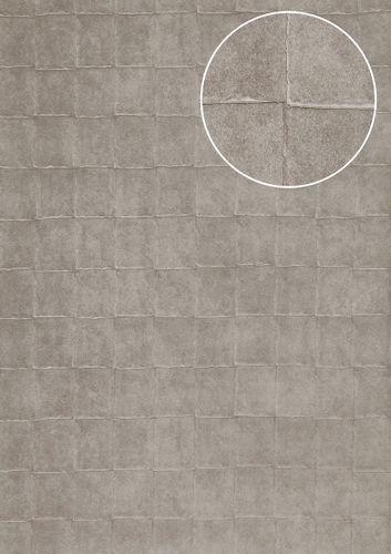 Papier peint aspect pierre carrelage Atlas INS-5080-3 papier peint texturé gaufré avec des figures géométriques et un effet métallique argent gris-platine 7,035 m2 – Bild 1