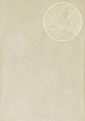 Empapelado efecto estuco Atlas INS-5079-1 papel pintado texturado gofrado brillante crema marfil-claro 7,035 m2