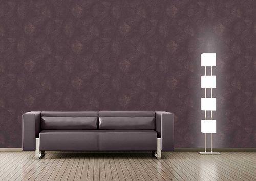 Papier peint aspect crépi Atlas INS-5079-5 papier peint texturé gaufré brillant pourpre violet-bordeaux aubergine rouge noir 7,035 m2 – Bild 3