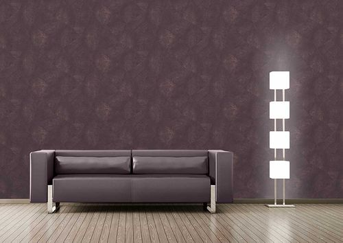 Pleister-look behang Atlas INS-5079-5 structuur behang gestempeld glanzend purper bordeauxpaars aubergine zwartrood 7,035 m2 – Bild 3