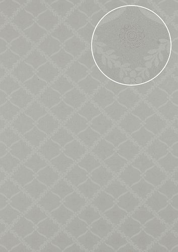 Baroque wallcovering wall Atlas PRI-550-1 non-woven wallcovering smooth with ornaments matt gray olive-gray pebble-gray pearl-beige 5.33 m2 (57 ft2) – Bild 1