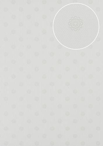 Barock Tapete Atlas PRI-550-4 Vliestapete glatt mit Ornamenten matt creme perl-weiß creme-weiß perl-gold 5,33 m2 – Bild 1