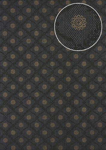 Barock Tapete Atlas PRI-550-5 Vliestapete glatt mit Ornamenten schimmernd anthrazit umbra-grau perl-gold dunkel-grau 5,33 m2 – Bild 1