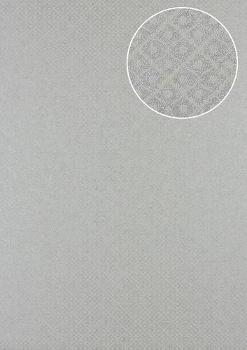Barock Tapete Atlas PRI-551-1 Vliestapete strukturiert mit Ornamenten und Metallic Effekt silber weiß-aluminium licht-grau seiden-grau 5,33 m2 – Bild 1