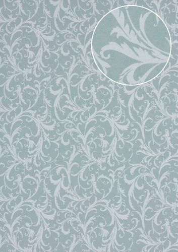 Baroque wallcovering wall Atlas PRI-523-1 non-woven wallcovering smooth with floral ornaments matt gray cement-gray light-gray agate-gray 5.33 m2 (57 ft2) – Bild 1