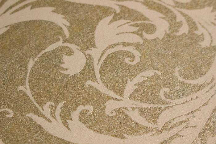 barock tapete atlas pri 523 2 vliestapete glatt mit floralen ornamenten schimmernd bronze perl. Black Bedroom Furniture Sets. Home Design Ideas