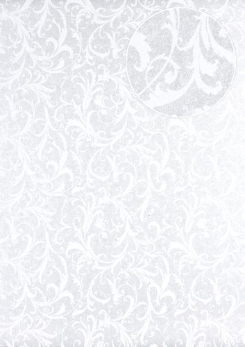 Baroque wallcovering wall Atlas PRI-523-5 non-woven wallcovering smooth with floral ornaments shimmering silver oyster-white gray-white 5.33 m2 (57 ft2) – Bild 1