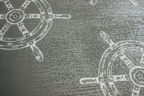Papel pintado gráfico Atlas SIG-585-2 papel pintado no tejido liso de estilo marítimo efecto satinado gris gris-polvo gris azulado gris plata 5,33 m2 – Imagen 2