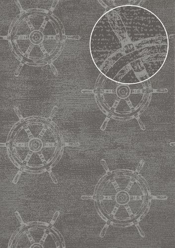 Papel pintado gráfico Atlas SIG-585-2 papel pintado no tejido liso de estilo marítimo efecto satinado gris gris-polvo gris azulado gris plata 5,33 m2 – Imagen 1