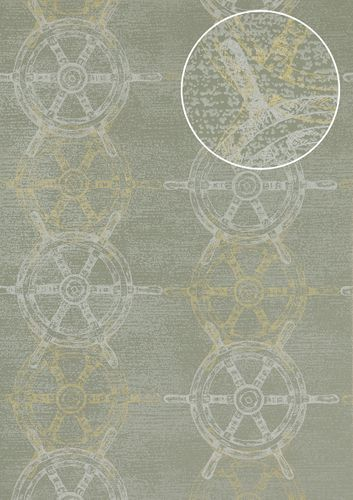 Graphic wallpaper wall Atlas SIG-585-5 non-woven wallcovering smooth with maritime design and metallic highlights gray green-gray white gold 5.33 m2 (57 ft2) – Bild 1