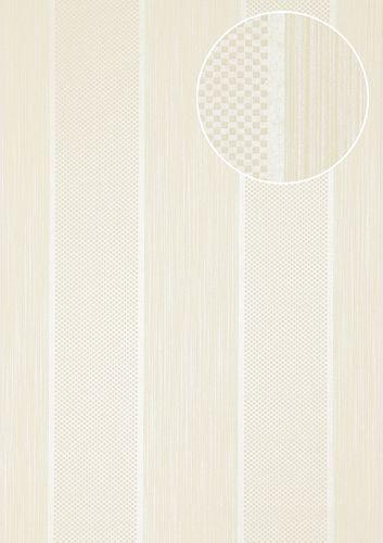 Papier peint à rayures Atlas PRI-556-5 papier peint intissé texturé avec des figures géométriques brillant ivoire blanc-perlé vanille beige nacré 5,33 m2 – Bild 1