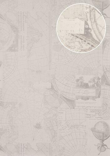 Papel pintado gráfico Atlas SIG-586-1 papel pintado no tejido liso de estilo marítimo efecto satinado crema blanco-puro marfil claro gris luminoso 5,33 m2 – Imagen 1