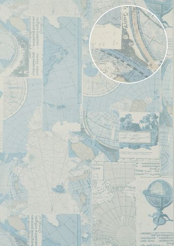 Graphic wallpaper wall Atlas SIG-586-2 non-woven wallcovering smooth with maritime design shimmering gray oyster-white light-blue beige 5.33 m2 (57 ft2) – Bild 1