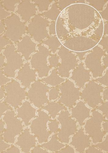 Exklusive Luxus Tapete Atlas PRI-557-2 Vliestapete strukturiert mit Ornamenten glitzernd oliv oliv-grau kiesel-grau perl-beige 5,33 m2 – Bild 1