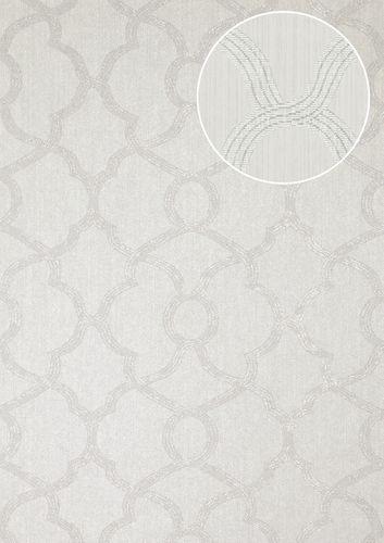 Papier peint de luxe exclusif Atlas PRI-557-8 papier peint intissé texturé avec des ornements scintillant argent aluminium-blanc gris clair gris soie 5,33 m2 – Bild 1