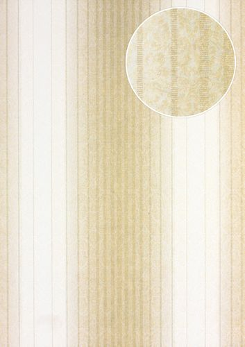 Stripes wallpaper wall Atlas PRI-528-3 non-woven wallcovering smooth baroque style matt beige cream light-ivory pearl-gold 5.33 m2 (57 ft2) – Bild 1