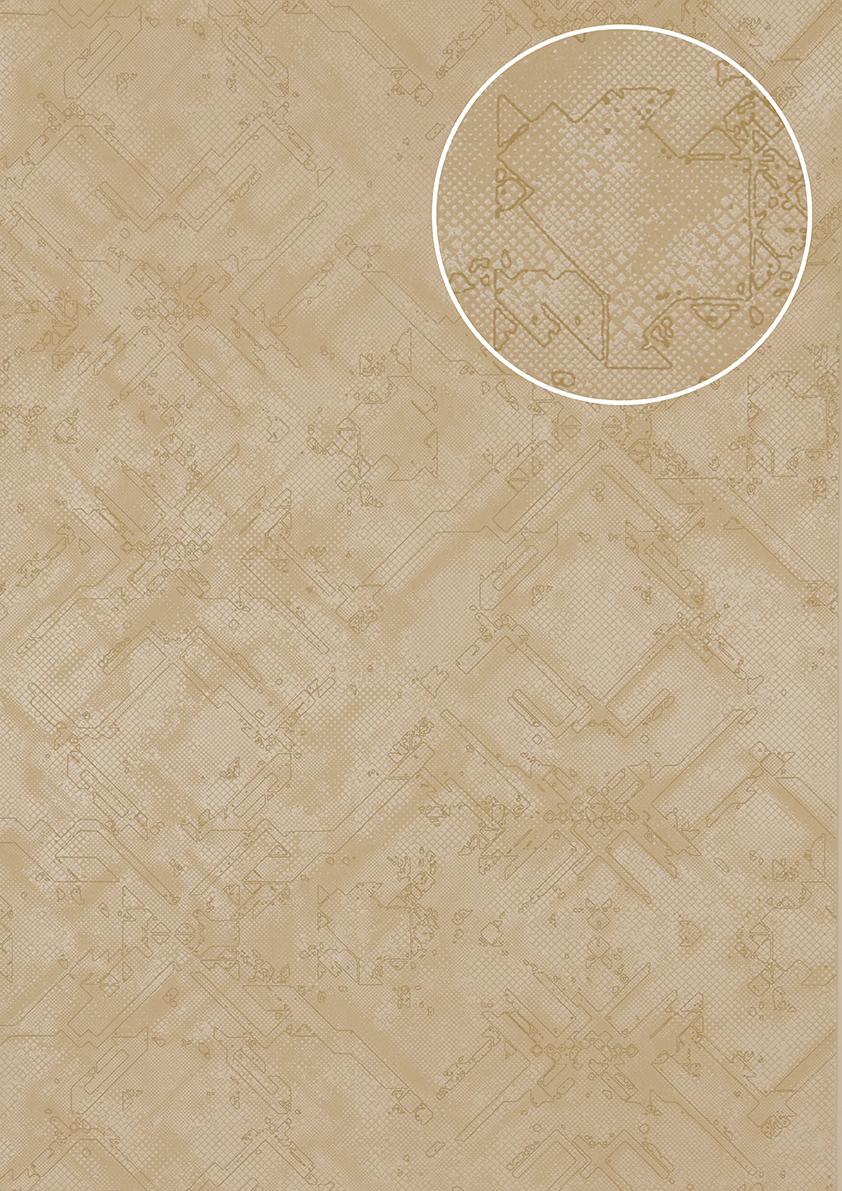 Grafik tapete atlas sig 580 3 vliestapete strukturiert mit for Tapete grau mit muster