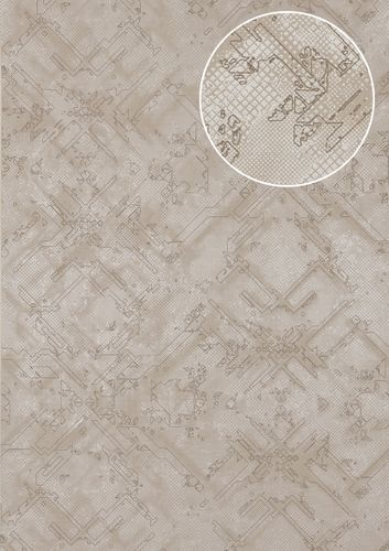 Graphic wallpaper wall Atlas SIG-580-5 non-woven wallcovering textured with abstract pattern shimmering gray silver-gray white-aluminium 5.33 m2 (57 ft2) – Bild 1