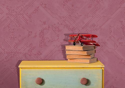 Carta da parati grafica Atlas SIG-581-2 Carta da parati TNT strutturata con pattern astratto scintillante rosso viola-rossastro rosso-rubino-perlato 5,33 m2 – Bild 2