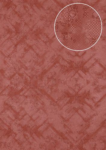 Carta da parati grafica Atlas SIG-581-2 Carta da parati TNT strutturata con pattern astratto scintillante rosso viola-rossastro rosso-rubino-perlato 5,33 m2 – Bild 1