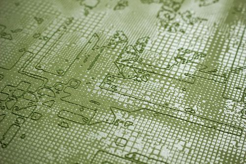 Grafik Tapete Atlas SIG-581-4 Vliestapete strukturiert mit abstraktem Muster schimmernd grün blass-grün farn-grün 5,33 m2 – Bild 2