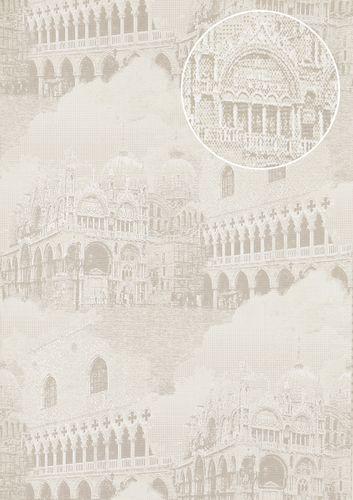 Grafik Tapete Atlas SIG-582-1 Vliestapete strukturiert mit architektonischen Motiven und metallischen Akzenten grau licht-grau creme-weiß silber 5,33 m2 – Bild 1