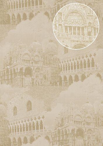 Papel pintado gráfico Atlas SIG-582-3 papel pintado no tejido texturado con motivos de la arquitectura y acentos metálicos marfil blanco-crema beige agrisado oro 5,33 m2 – Imagen 1