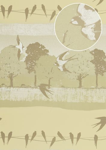 Birds wallpaper wall Atlas SIG-583-1 non-woven wallcovering smooth with landscape and metallic highlights cream light-ivory gray-beige oyster-white 5.33 m2 (57 ft2) – Bild 1