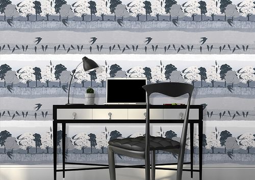 Birds wallpaper wall Atlas SIG-583-2 non-woven wallcovering smooth with landscape and metallic highlights gray anthracite pearl-light-gray oyster-white 5.33 m2 (57 ft2) – Bild 3