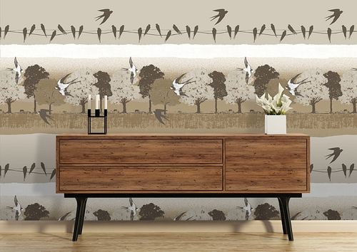 Birds wallpaper wall Atlas SIG-583-3 non-woven wallcovering smooth with landscape and metallic highlights beige gray-brown light-ivory pearl-gold 5.33 m2 (57 ft2) – Bild 3