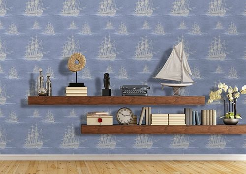 Graphic wallpaper wall Atlas SIG-584-3 non-woven wallcovering smooth with maritime design and metallic highlights blue pigeon-blue silver-gray 5.33 m2 (57 ft2) – Bild 3