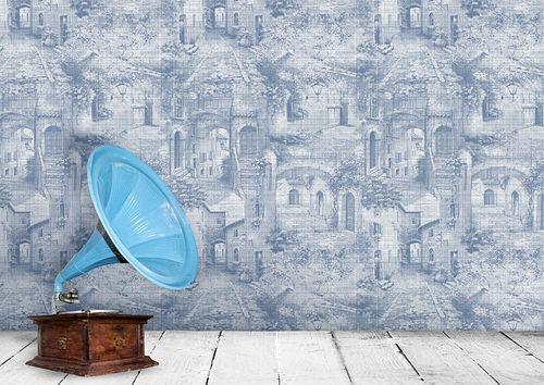 Papel pintado gráfico Atlas SIG-579-3 papel pintado no tejido texturado de estilo used look efecto satinado azul azul-lejanía blanco perla blanco grisáceo 5,33 m2 – Imagen 3