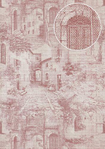 Grafik Tapete Atlas SIG-579-4 Vliestapete strukturiert im Used Look schimmernd rot rot-violett perl-weiß grau-weiß 5,33 m2 – Bild 1