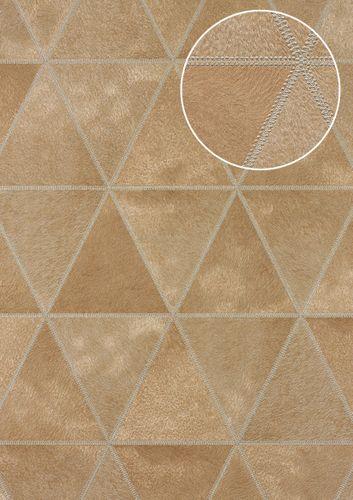 Carta da parati in rilievo Atlas SKI-5066-3 Carta da parati TNT goffrata con aspetto pelliccia scintillante beige beige-marrone marrone-caramello argento 7,035 m2 – Bild 1