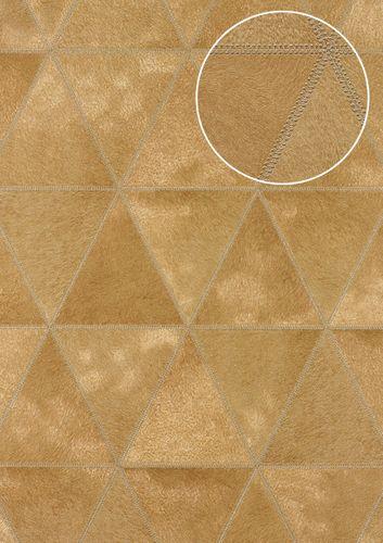 Carta da parati in rilievo Atlas SKI-5066-4 Carta da parati TNT goffrata con aspetto pelliccia scintillante oro giallo-ocra marrone-oliva platino 7,035 m2 – Bild 1