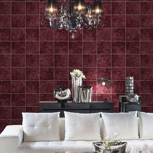 Präge Tapete Atlas SKI-5067-5 Vliestapete geprägt in Felloptik schimmernd rot purpur-rot schwarz-rot perl-beige 7,035 m2 – Bild 3