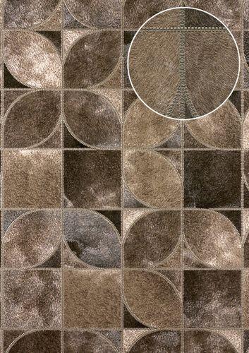 Präge Tapete Atlas SKI-5068-4 Vliestapete geprägt in Felloptik schimmernd braun dunkel-braun terra-braun 7,035 m2 – Bild 1