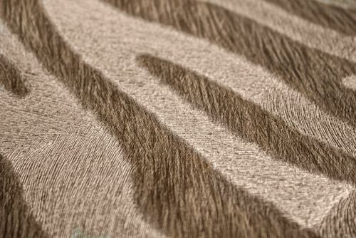 Dieren patroon behang Atlas SKI-5069-2 vliesbehang gestempeld met zebra patroon glanzend beige grijsbeige reebruin bleekbruin 7,035 m2 – Bild 2